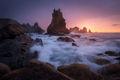 waves, seastacks, seastack, color, north coast, spain