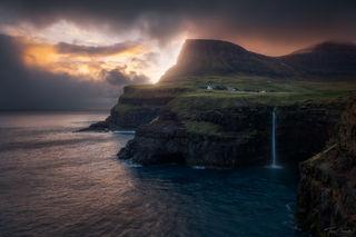 sunset, gasadalur, faroe islands