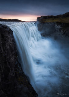 sunrise, dettifoss, waterfall, iceland, dettifoss water