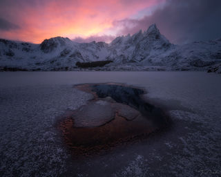 Lofoten, Norway, Ballstad, color, sunset