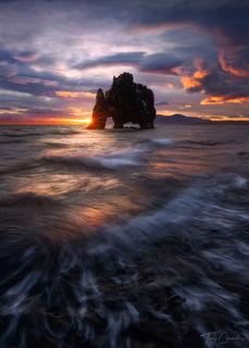 Iceland, Hvítserkur, seastack, coast, wave