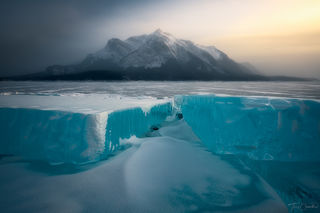 Alberta, Abraham Lake, ice, mist, icy, mountain, canada