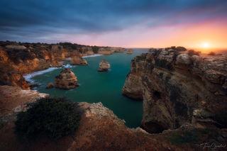 Praia da Marinha, Algarve, Portugal, ocean, seascape, seastack, sea, Mediterranean