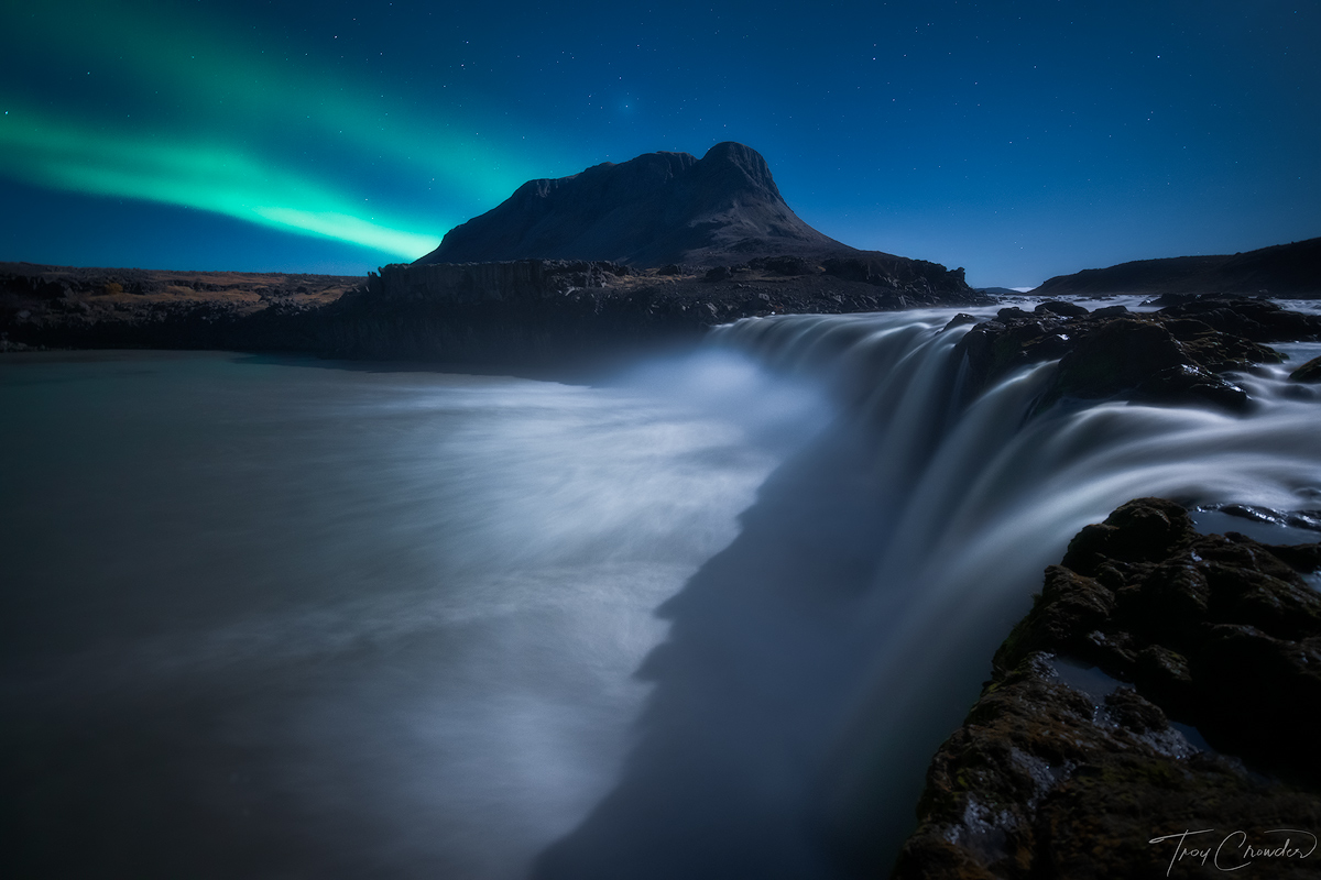 moonlit, aurora, southern iceland, iceland, waterfall, photo