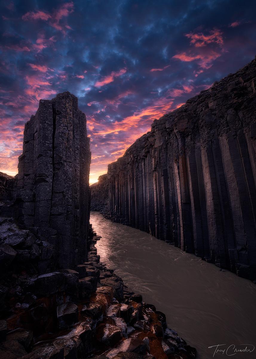 sunset, light, basalt canyon, basalt, eastern iceland, iceland, Stuðlagil, photo