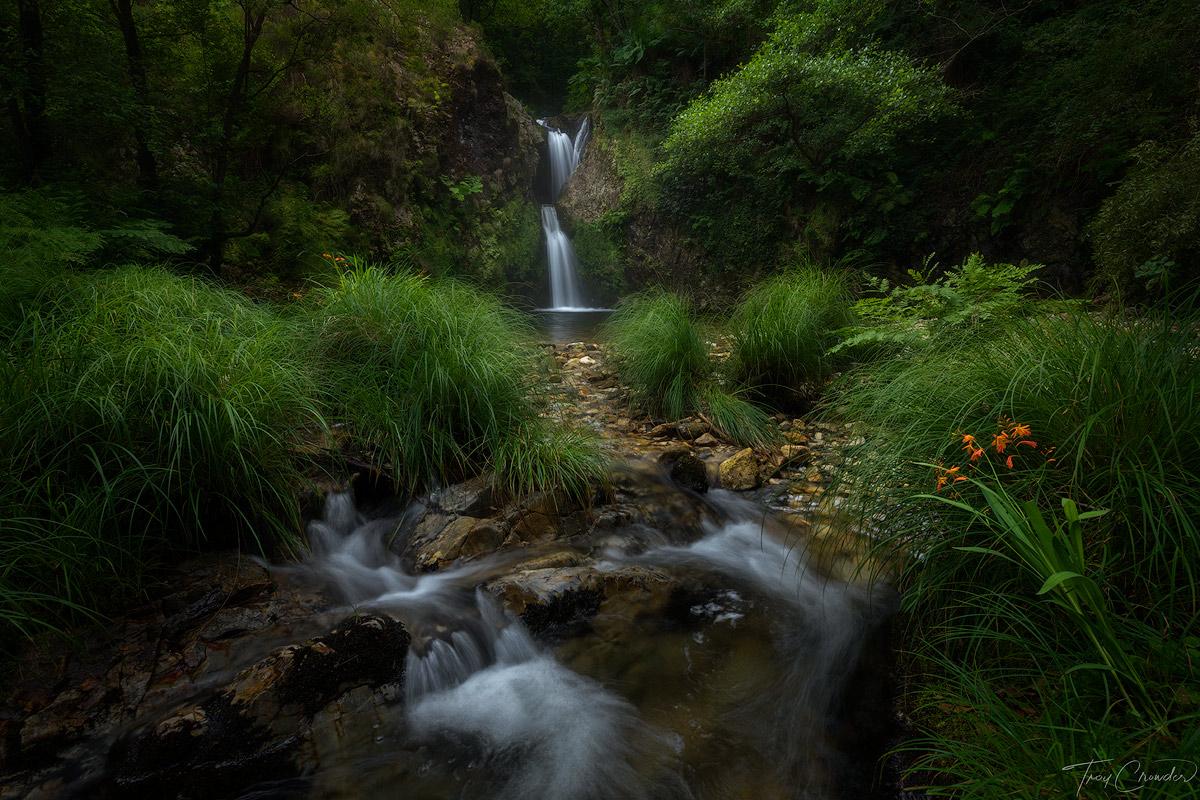 asturias, spain, lush, waterfall, photo