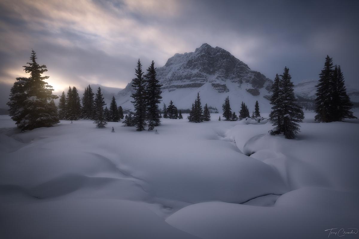 bow lake, banff national park, banff, alberta, canada, snow, frigid, canadian rockies, photo