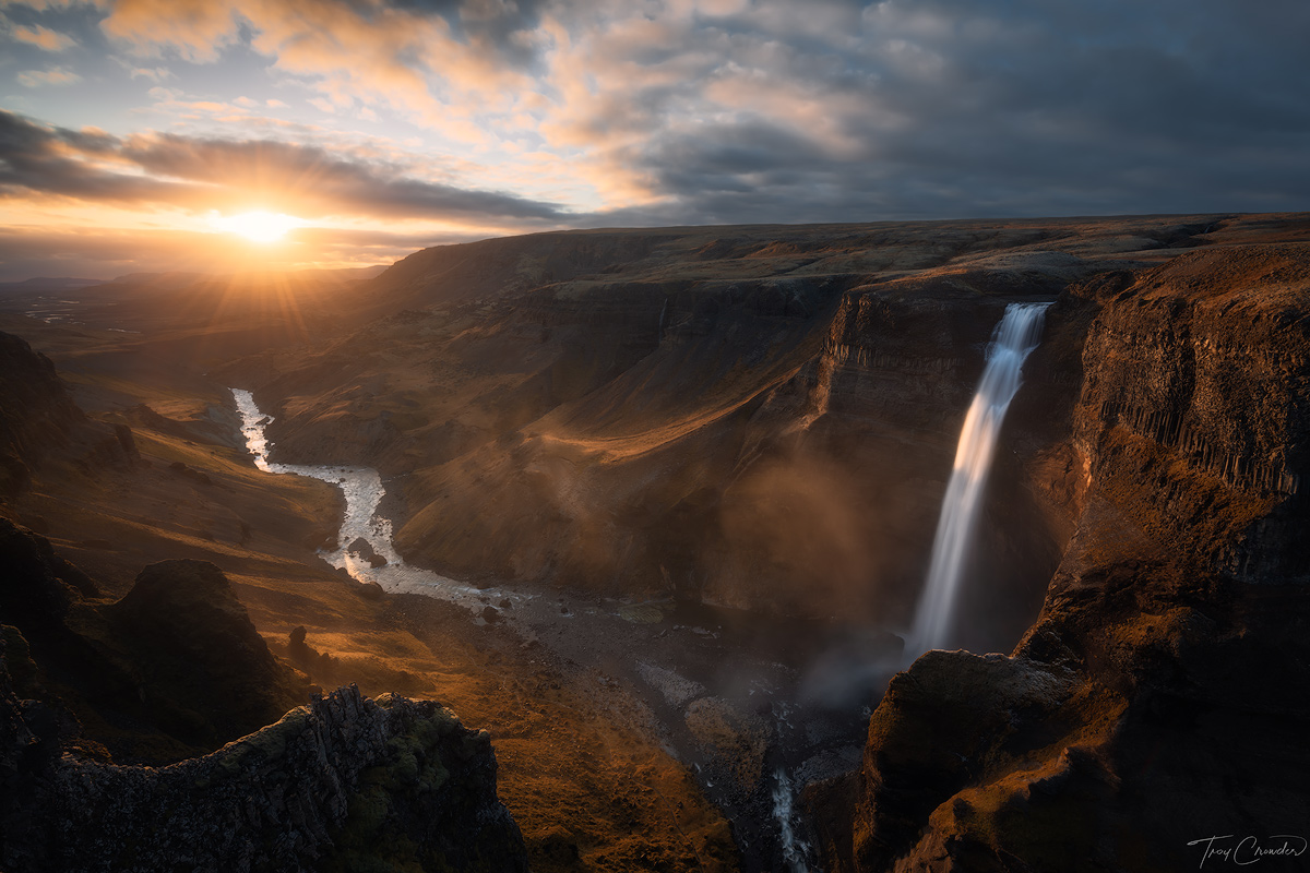 Last kiss of sunset light landing perfectly on Háifoss waterfall in southern Iceland.